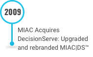 This is an image of MIAC Acquires DecisionServe Upgraded and rebranded MIACDS™ from the Decades of Innovation Timeline